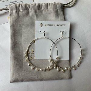 Kendra Scott Hilty Silver Hoop Earrings Pearl